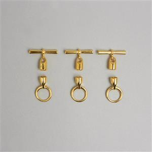 Gold Plated Toggle Clasp with Cord Ends Approx 6.2mm (3pcs)