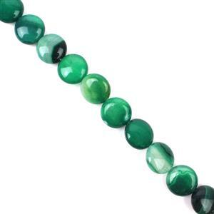 190cts Green Stripe Agate Puffy Coins Approx 12mm, 38cm/strand