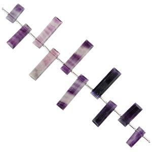 122cts Multi Fluorite Graduated Faceted Bars Approx 15x6 to 31x6mm, 12cm Strand.