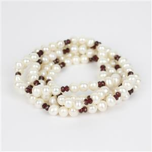 Freshwater Cultured Pearls Approx 6mm With Garnet Rondelles 3mm, 1 Metre Strand