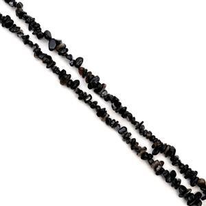 300cts Black Agate Small Nuggets Chips Approx 3x5 - 7x11mm, 85cm Strand