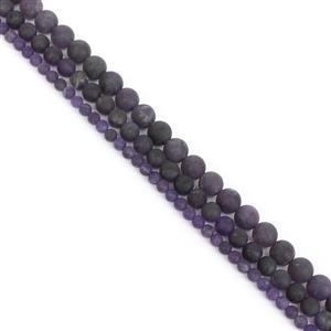 350cts Amethyst Frosted Rounds Approx 4, 6, 8mm, 15