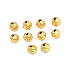 Gold Plated Brass Diamond Cut Swirl Beads, Approx. 7mm (10pk)