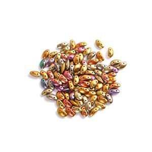 Czech MobyDuo Ancient Gold Beads, Approx 3x8mm (100pcs)
