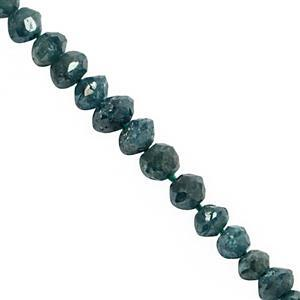 2.20cts Blue Diamond Graduated Faceted Rondelle Approx 1.5x1 to 3x2.5mm, 4.5cm Strand