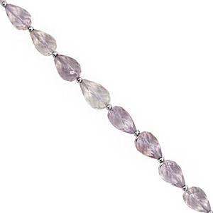 45cts Pink Amethyst Straight Drill Graduated Faceted Drops Approx 8x5 to 9x6mm, 20cm Strand with Spacers