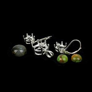 Star Man; 925 Silver Star Earrings Mount & Turquoise 8mm Cabs