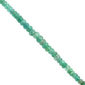 20cts Zambian Emerald Graduated Faceted Rondelles Approx 1.50x1 to 4.50x3mm, 20cm Strand
