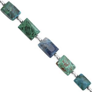 55cts Chrysocolla Graduated Plain Rectangle Approx 9x8 to 13x10mm, 16cm Strand with Spacers