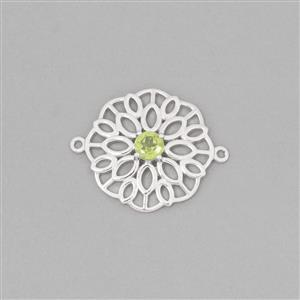 925 Sterling Silver Gemset Connector Approx 27x21mm Inc. 0.51cts Peridot Brilliant Round Approx 5mm