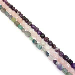 1136cts Rose Quartz, Amethyst & Multi Fluorite Oval Nuggets Approx 8 to 16 mm, 38cm Strands (Set of 3)