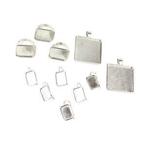 Squared Up Bezel kit inc rectangle pendants (2pc); Rings (3pc) & Earrings (3 pairs)