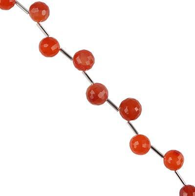 110cts Carnelian Graduated Faceted Corner Drilled Rounds Approx 9 to 11mm, 20cm Strand.