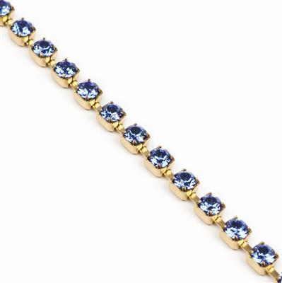 Swarovski Cupchain, Sapphire, Gold Plating, PP32, 27104, Pk50