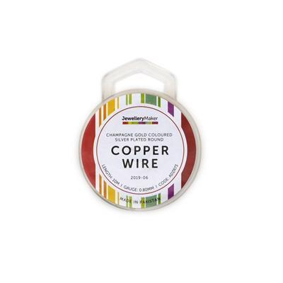 10m Champagne Gold Coloured Silver Plated Copper Wire 0.8mm