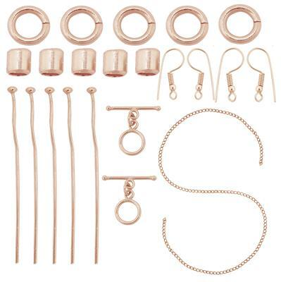 Rose Gold Plated Base Metal Essential Findings Kit In Organza Bag (21pcs)