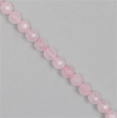 Rose Quartz Beads, Round Gemstone Strands. 150cts, Faceted Rounds AFKY19