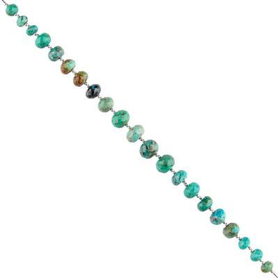 60cts Chrysocolla Graduated Faceted Rondelles Approx 5x3 to 10x6mm, 16cm Strand.
