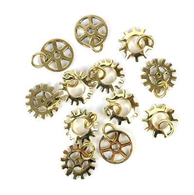 Polished Brass Steampunk Wheel Findings Mix Bag with Jump Ring (12pcs)