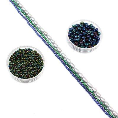 River Nile Collection; Cultured Pearls dyed Silver, Blue & Green and Miyuki Seedbeads 11/0 & 6/0