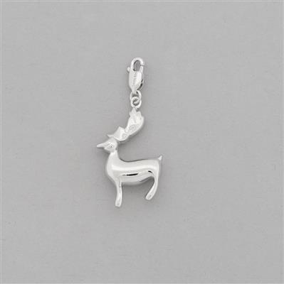 925 Sterling Silver Deer Charm Approx 40x18mm