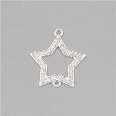 The Diamond Collection: 925 Sterling Silver Star Connector Charm Approx 18mm Inc. 0.22cts Diamonds Round Approx 1mm
