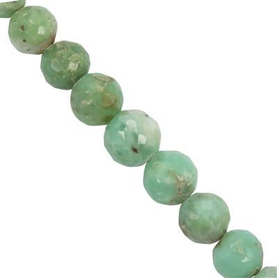 118cts Green Chrysoprase Faceted Rounds Approx 5.6x5.5mm to 9.2x8.5mm 30cm Strand
