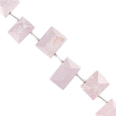 90cts Phosphosiderite Graduated Faceted Rectangles Approx 14x10 to 21x15mm, 10cm Strand.