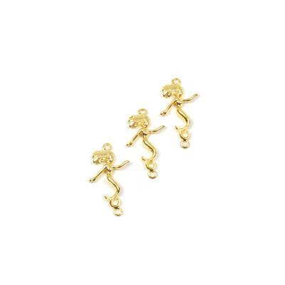 Gold Coloured Vertial Mermaid Pendant Approx 29mm, 3pk