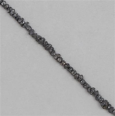 10cts Black Diamond Graduated Small Rough Nuggets Approx From 1x1 to 4x1mm, 14cm Strand.