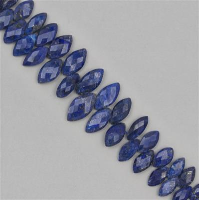 150cts Lapis Lazuli Graduated Faceted Marquise Approx 10x5 to 19x10mm, 18cm Strand.