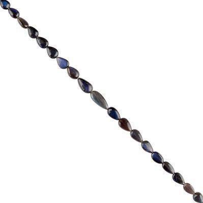 40cts Blue Sheen Labradorite Graduated Center Drilled Plain Pears Approx 8x5 to 11x6mm, 18cm Strand.
