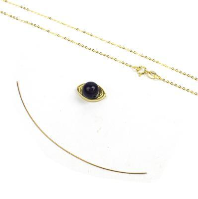 Gold Plated 925 Sterling Silver Eye & Amethyst Pendant Mini Make Approx 10mmx15mm (Incl Wire 0.4x75mm and Chain)