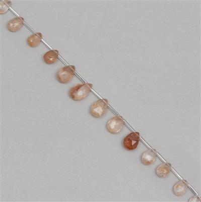 65cts Imperial Topaz Graduated Faceted Pears Approx 9x6 to 15x9mm, 18cm Strand.