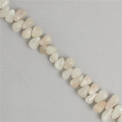 100cts White Agate Graduated Irregular Plain Drops Approx From 4x3 to 9x4mm, 28cm Strand.