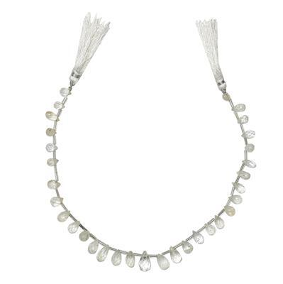 100cts Cullinan White Topaz Graduated Faceted Drops Approx 5x3 to 13x8mm, 28cm Strand.