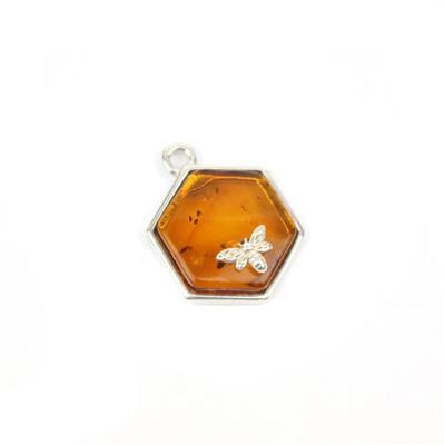 Baltic Cognac Amber Hexagon Bees Charm Approx 17x13mm Sterling Silver