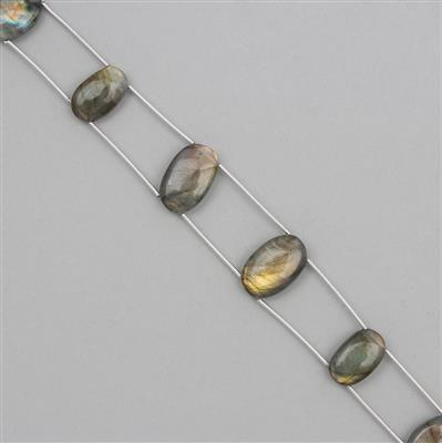 68cts Labradorite Graduated Double Drilled Plain Ovals Approx 14x9 to 18x12mm, 19cm Strand.
