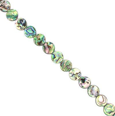 Abalone Flat Coins Approx 16mm, Approx 38cm Strand