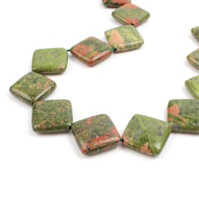 370cts Unakite Squares Approx 20mm, Approx 38cm/strand