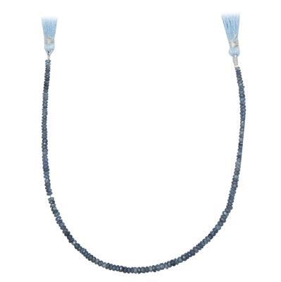 38cts Blue Sapphire Graduated Faceted Rondelles Approx 2x1 to 4x2mm, 25cm Strand.
