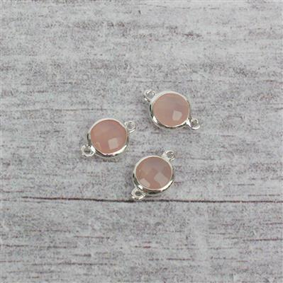 925 Sterling Silver High Polished Bezel Connectors Approx 12x8mm Inc. 3.50cts Pink Chalcedony Briolette Rounds 7mm. (3pcs)