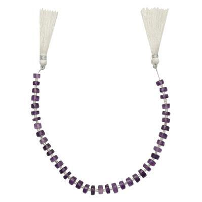 55cts Amethyst Graduated Faceted Wheels Approx From 5x3 to 7x3mm, 21cm Strand.