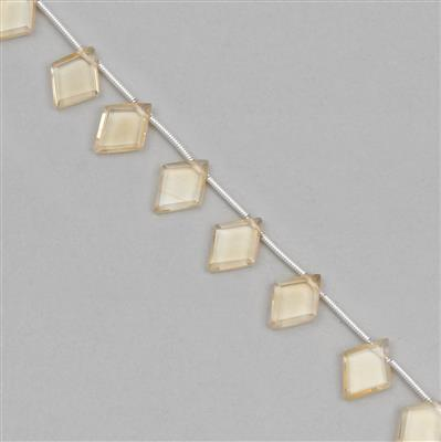 20cts Citrine Graduated Diamond Shaped Gemstones Approx 10x7 to 11x9mm, 12cm Strand.