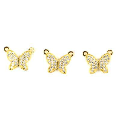 Gold Plated Spring Butterfly Connectors 925 Sterling Silver and Cubic Zirconia 12mm 3pk