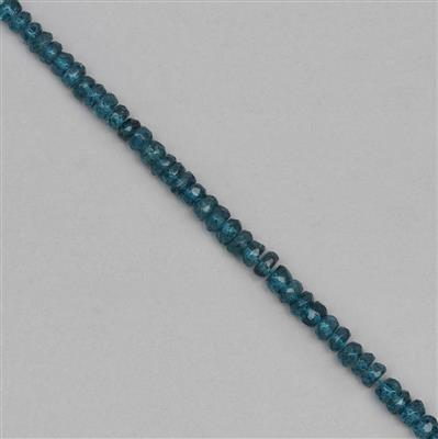 60cts Coated London Blue Topaz Graduated Faceted Rondelles Approx 2x1 to 6x2mm, 29cm Strand.