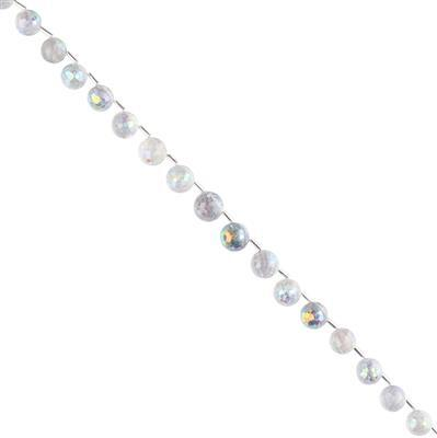 95cts Mystic Colour Coated Quartz Graduated Faceted Corner Drilled Rounds Approx 8 to 10mm, 20cm Strand.