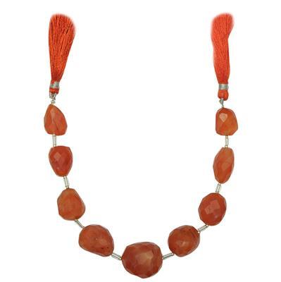 210cts Carnelian Graduated Faceted Large Nuggets Approx 17x13 to 22x17mm, 16cm Strand.