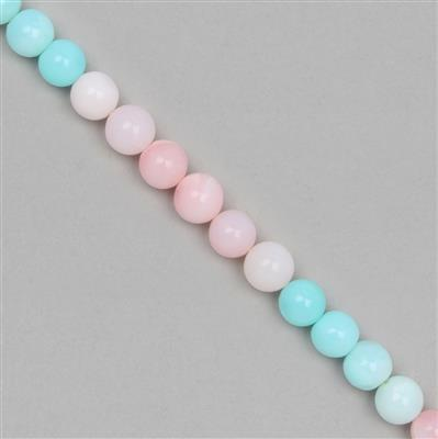 75cts Multi-Colour Opal Graduated Plain Rounds Approx 6 to 9mm, 19cm Strand.