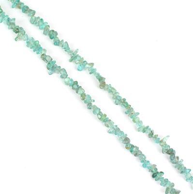 100cts Blue Apatite Chips Approx from 3x5 to 4x6mm, Centre Hole, 85cm strand